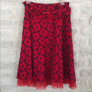 NWT retro pinup eyelet lace skirt red blue Aryeh L